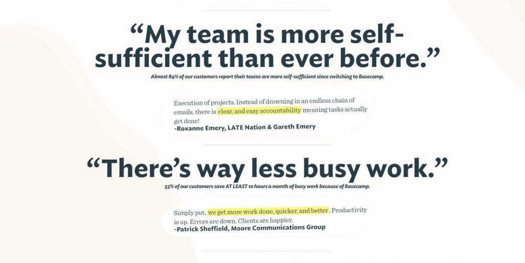 Ukázky citací z webu Basecampu